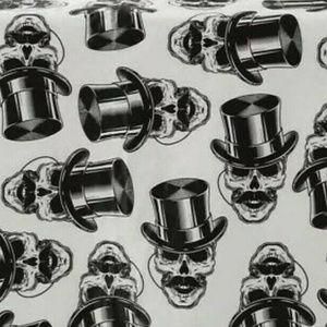 3 Vinyl Tablecloth Lot Skulls W? Top Hat Mustache